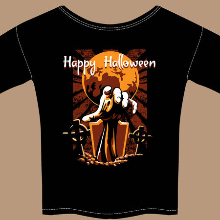 churchyard: T Shirt with Halloween Zombie Graphic