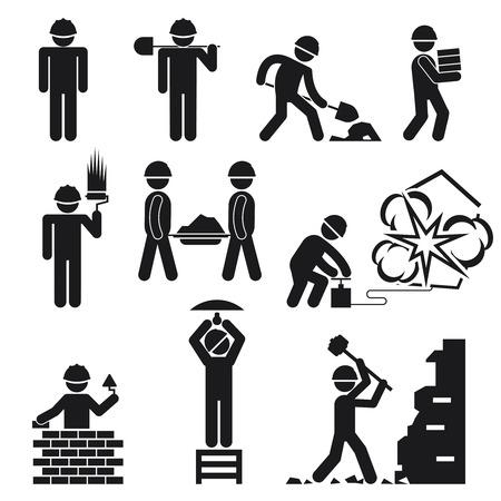 excavating machine: construction icons