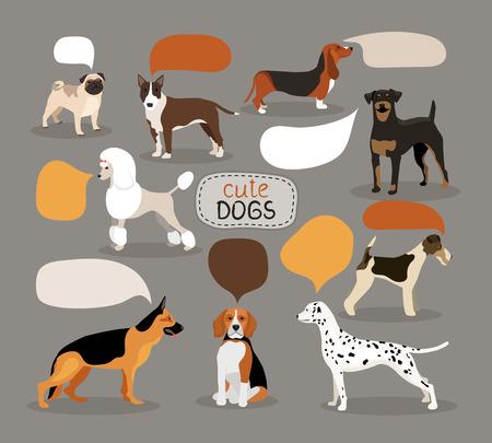 Conjunto de las razas de perros con globos de texto