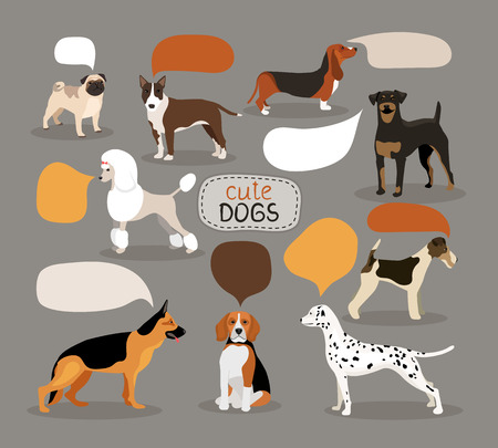 bloodhound: Set of dog breeds with speech bubbles Illustration