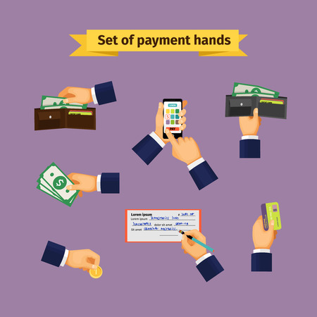 cash in hand: Assorted Mode of Payment Types Illustration