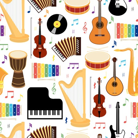 wind icon: Musical instruments seamless pattern Illustration