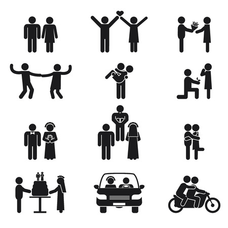 wedding couple silhouette: Relationship and wedding people icon set