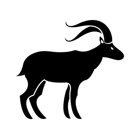 curved leg: Vector goat symbol