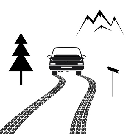 license: Car driving on a mountain road with tire tracks