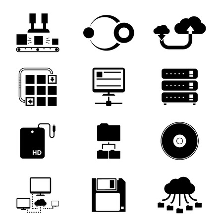 data processing: Storage and Data Transfer Icons on White