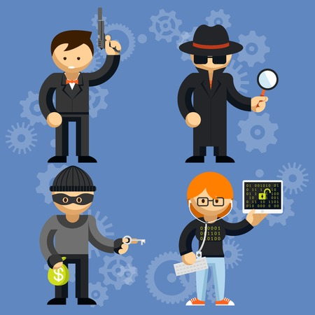 Vector characters involved in criminal activities Illustration