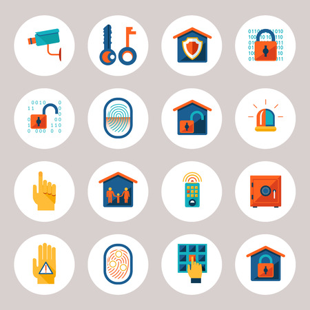 closed circuit television: Real Estate Protection Icons Illustration