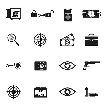 bullet camera: Secret Agent Accessories Icons Illustration