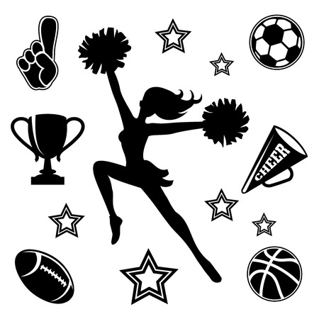 Young cheerleader with associated icons Vector