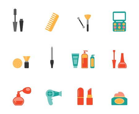 hairstyling: Hairstyling and makeup flat icons