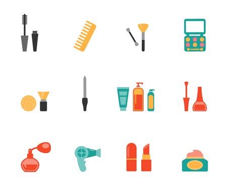productos de aseo: Peluquería y maquillaje iconos planos
