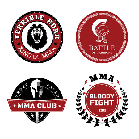 mixed martial arts: MMA Labels - Mixed Martial Arts Design Illustration