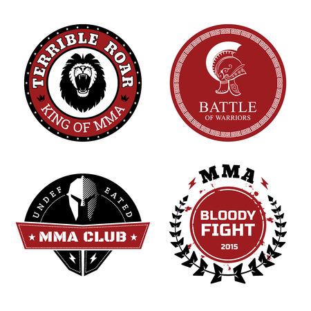 MMA Labels - Mixed Martial Arts Design Vektorové ilustrace