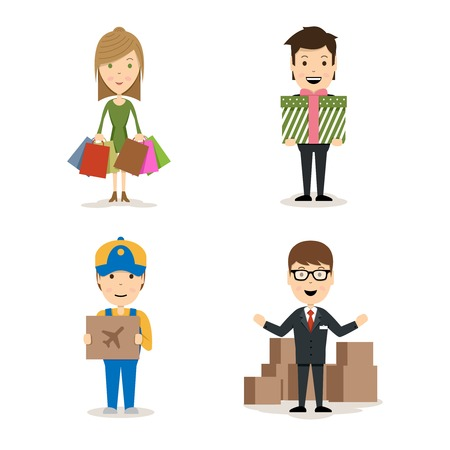 people shopping: People shopping vector characters Illustration