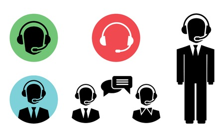 face with headset: call center icons