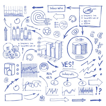 bar graph: Doodle Blue Business Charts and Arrows on White Illustration