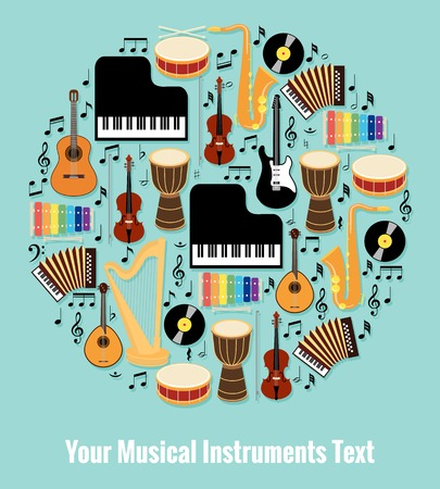 recital: Assorted Musical Instruments Design with Text Area