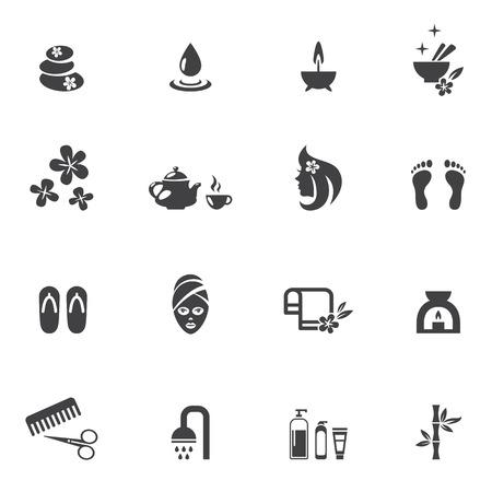Iconos del balneario en el fondo blanco Ilustración de vector