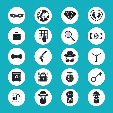 laundering: Illegal Activities Icons Illustration