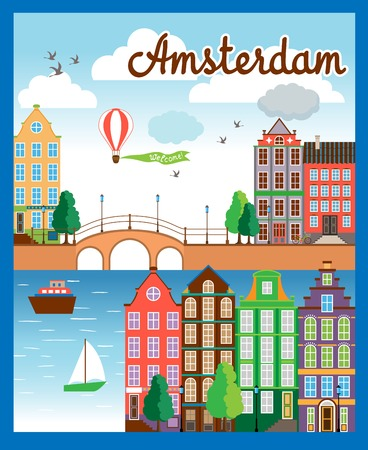 amsterdam canal: Vector Nice Amsterdam City Background