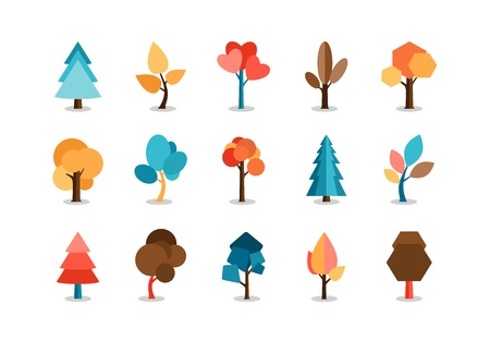 tree canopy: Vector Colored Tree Icons Set
