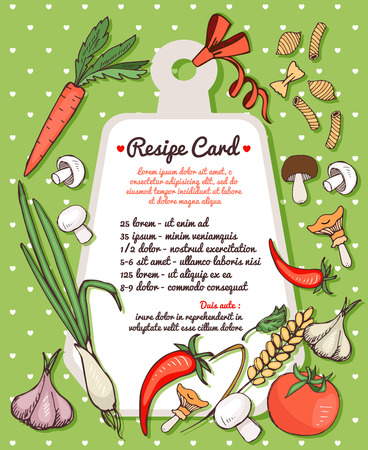 recipe card: Recipe card with fresh vegetables and pasta