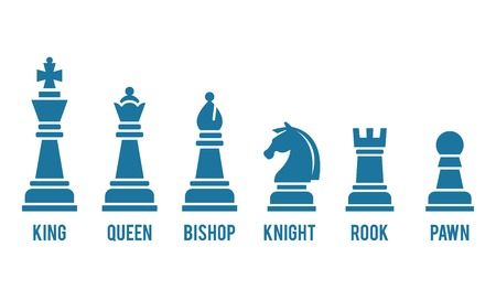 chess move: Named chess piece icons Illustration