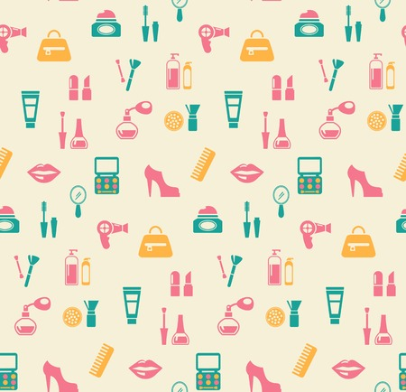 hairstyling: Hairstyling fashion and makeup seamless pattern