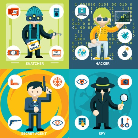 agent de sécurité: Vector Graphics espionnage et de l'activité criminelle