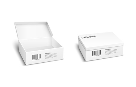 dispatch: Two white vector packages or boxes