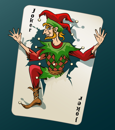 joker: Cartooned Joker Jumping Out From Playing Card