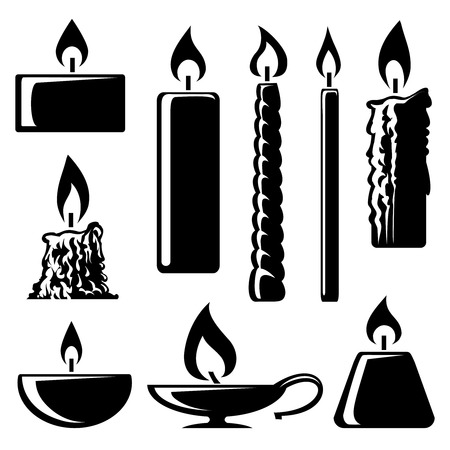 burning: black and white silhouette burning candles
