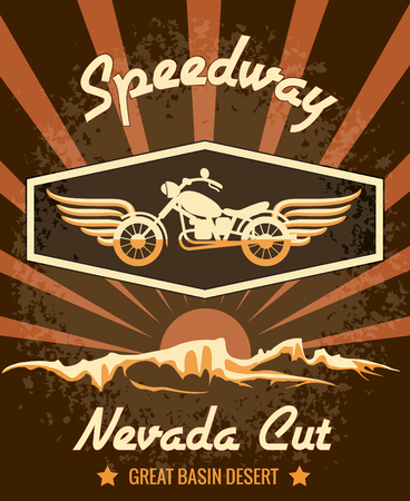 death valley: Retro Speedway Nevada Cut Graphic Design Illustration
