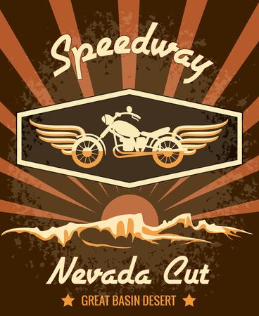 nevada: Retro Speedway Nevada Cut Graphic Design Illustration