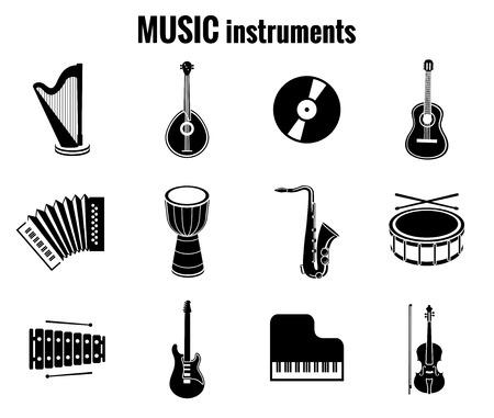 harp: Black Music Instrument Icons on White Background Illustration