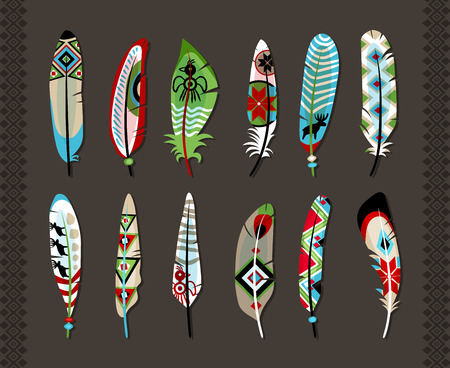 animal border: Feathers painted with colorful ethnic pattern