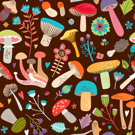 cartoon mushroom: Assorted Leaves and Mushrooms on Brown Background