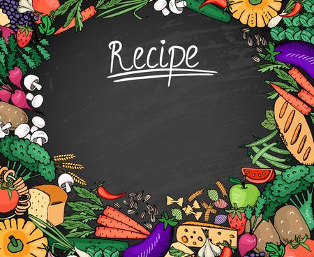 aubergine: Food Recipe Background on Black Chalkboard