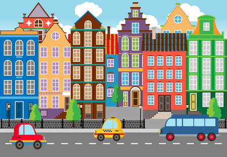 terraced: Seamless Cartooned City Life Graphic Illustration