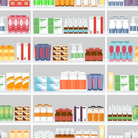 boticário: V�rios comprimidos e medicamentos em prateleiras Ilustra��o