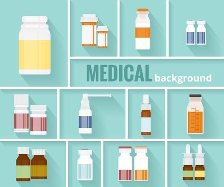dispensary: Medication Bottles for Medical Background Design