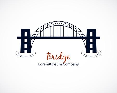 白い背景の上の橋のロゴのグラフィック デザイン  イラスト・ベクター素材