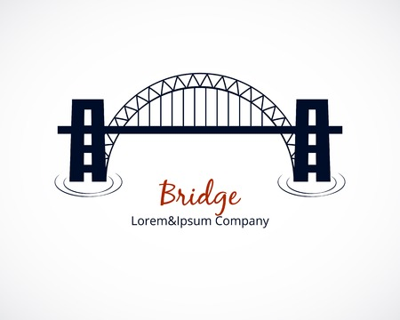 suspension bridge: Bridge Logo Graphic Design on White Background