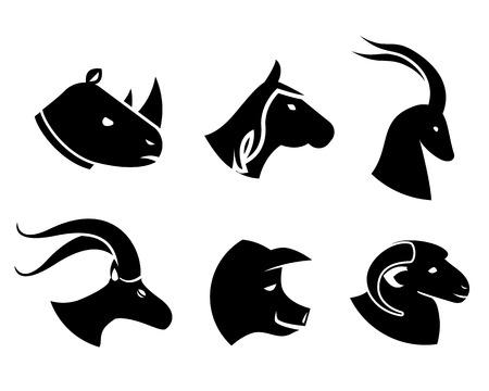 porker: Set of black animal head icons