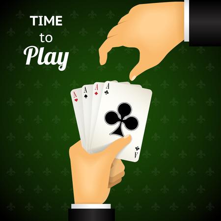 cartooned: Cartooned Hand Holding Four Aces Cards