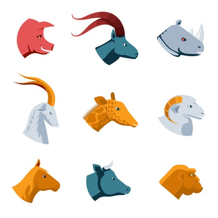 side profile: Flat Designs of Various Animal Head Icons Illustration
