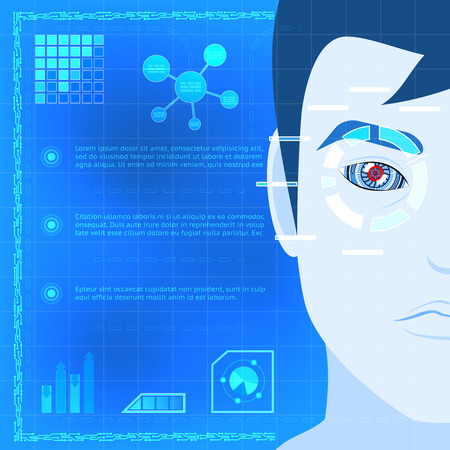 medical scanner: Eye Biometrics Scanner Technology Graphic Design