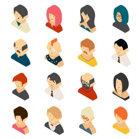 beautiful redhead: Isometric Colored User Icon Designs Illustration