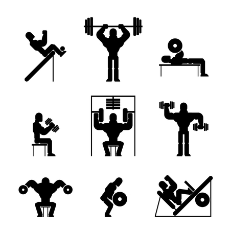 man working out: Bodybuilding and Weightlifting Icons
